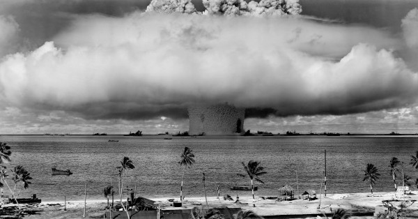 Baker atomic bomb test, Bikini Atoll, 25 July 1946.