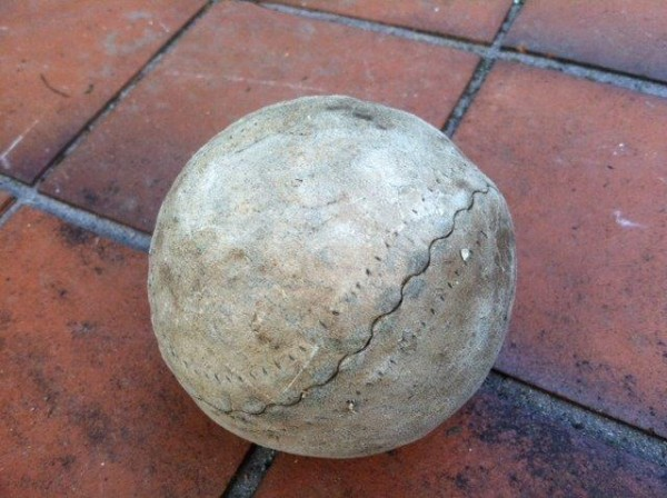 A softball used in on-deck games aboard the Cumberland Sound, still in usable shape. From the memorabilia of Norman Harris; photo provided by his son Stuart.