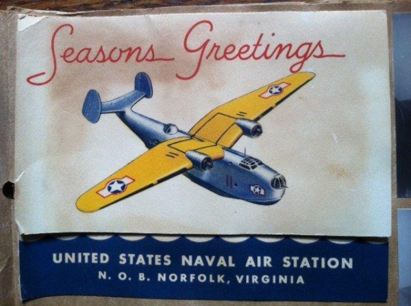 Christmas card from the Norfolk training base where many seaplane tender officers were trained, including Norman Harris. Photo provided by Stuart Harris.